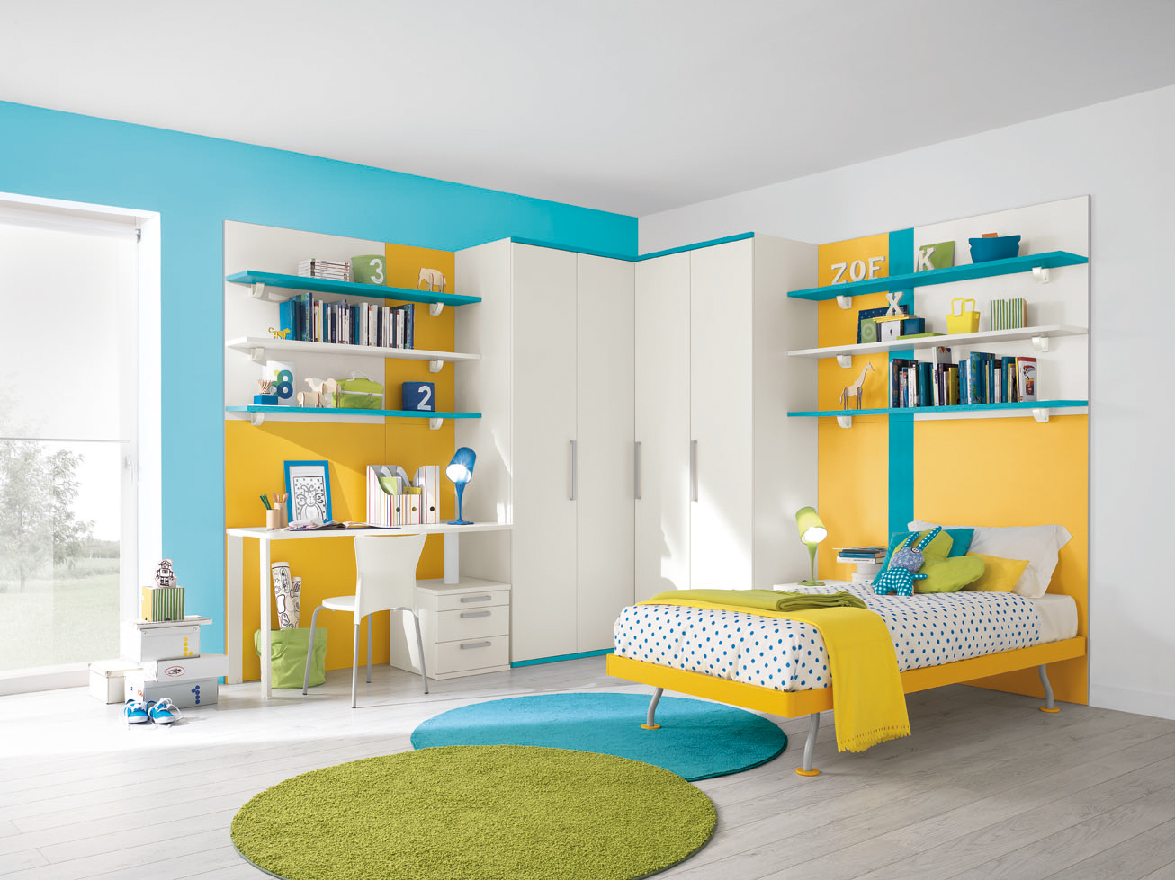 chambre jaune et bleu. Black Bedroom Furniture Sets. Home Design Ideas